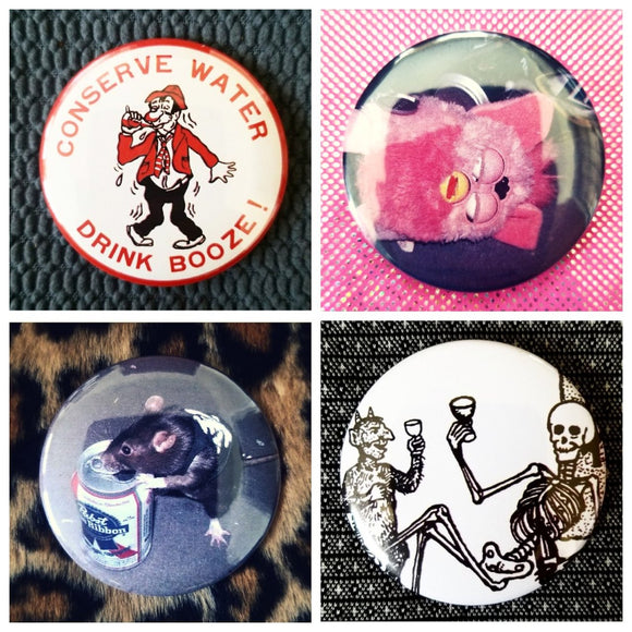 Drunk / drinking set of 4 new buttons pin badges