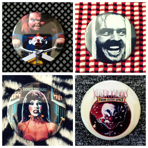 Scary horror movie set of 4 new buttons pin badges