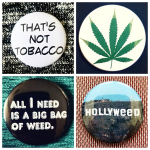 Stoner weed smoker set of 4 new buttons pin badges