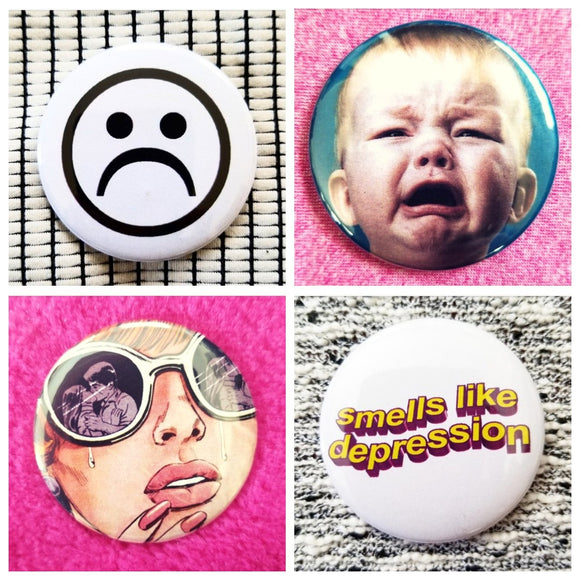 Sad depressed emotion crying face set of 4 new buttons pin badges