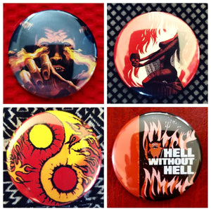 Fire flames hell set of 4 new buttons pin badges