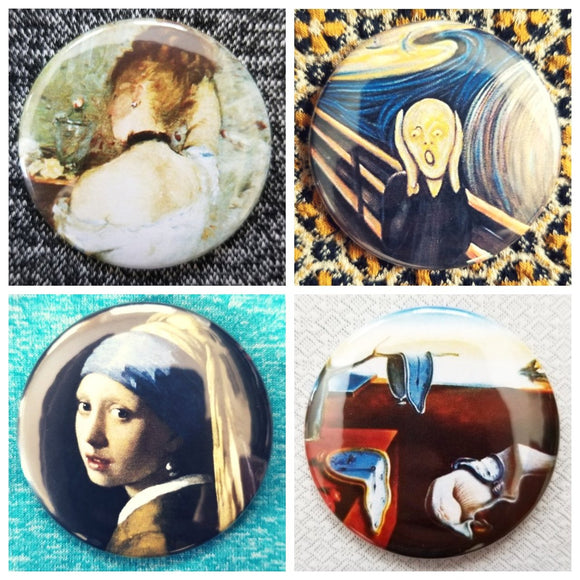Gallery artist painting set of 4 new buttons pin badges