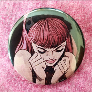 2.25 inch crying girl #3 button badge pin