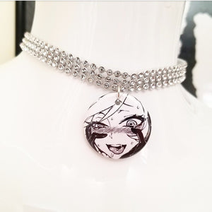 Drooling anime silver crystal rhinestone choker necklace
