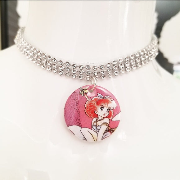Dinosaur anime girl silver crystal rhinestone choker necklace
