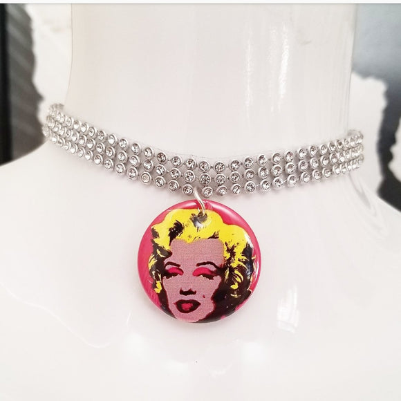 Marilyn Monroe silver crystal rhinestone choker necklace