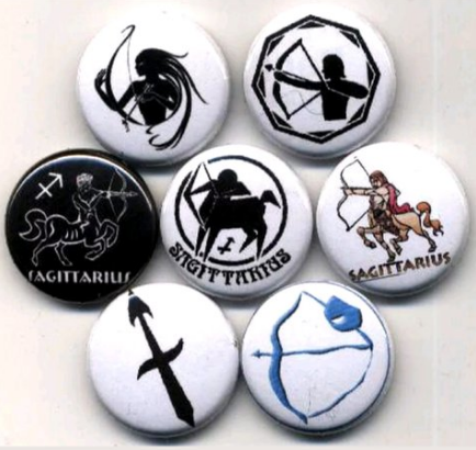 1 inch set of 7 Sagittarius button buttons badges pins