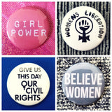 Feminist girl power womens rights set of 4 new buttons pin badges