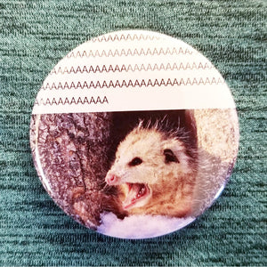 2.25 inch screaming opossum button badge pin