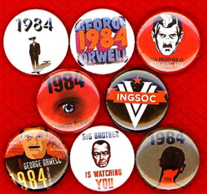 1 inch set of 8 1984 George Orwell buttons badge pins