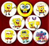 1 inch set of 8 Sponge Bob Square Pants buttons badge pin