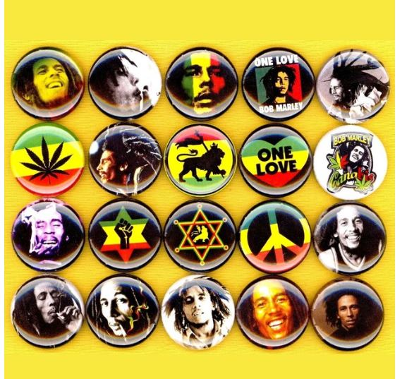 1 inch Bob Marley set of 20 buttons badge pins
