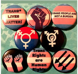 Protect trans kids trans lives matter trans rights set of 8 button badge pins