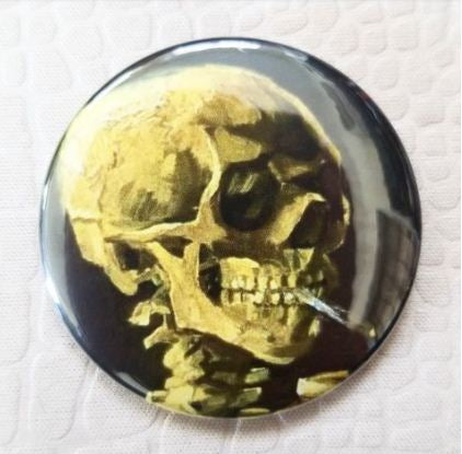 2.25 inch Van Gogh Smoking Skeleton button badge pin
