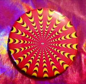 2.25 inch Yellow/Red/Pink Psychedelic button badge pin
