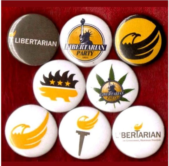 1 inch Libertarian set of 8 buttons badge pins