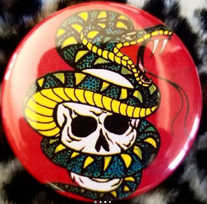 2.25 inch Skull and Snake button badge pin