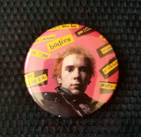 2.25 inch Pink Johnny Rotten button badge pin