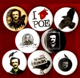 1 inch set of 8 Edgar Allen Poe button badge pin