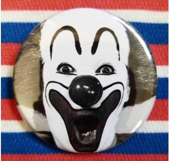 2.25 inch Black and White Clown button badge pin