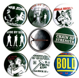 1 inch set of 8 New York hardcore punk buttons badge pins