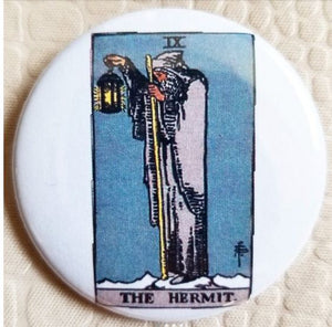 2.25 inch The Hermit Tarot Card button badge pin
