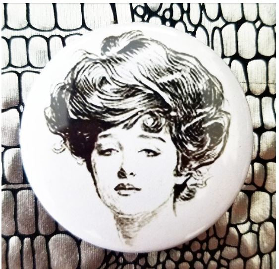 2.25 inch Female Illustration button badge pin