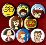 1 inch set of 8 Daria buttons badge pins