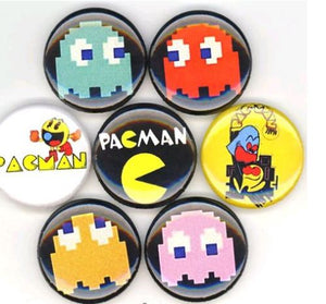1 inch set of 7 Pac-Man button badge pin