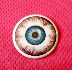 2.25 inch blue eyeball button badge pin