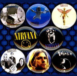 1 inch set of 8 Nirvana buttons badge pins
