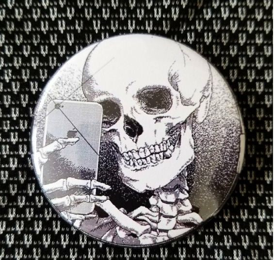 2.25 inch Skeleton Selfie button badge pin