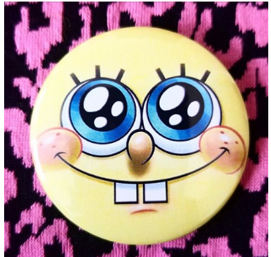 2.25 inch Yellow SpongeBob SquarePants button badge pin