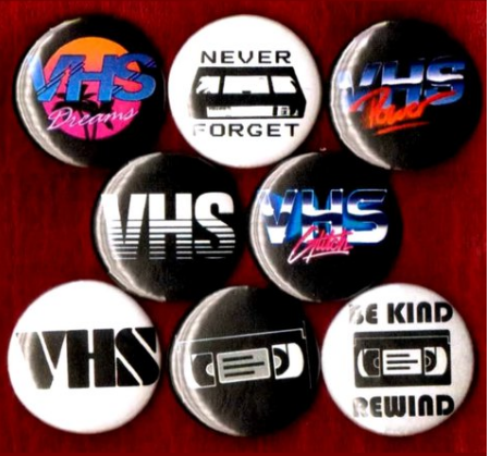 1 inch set of 8 VHS button badge pin