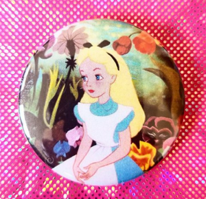 2.25 inch Alice in Wonderland button badge pin