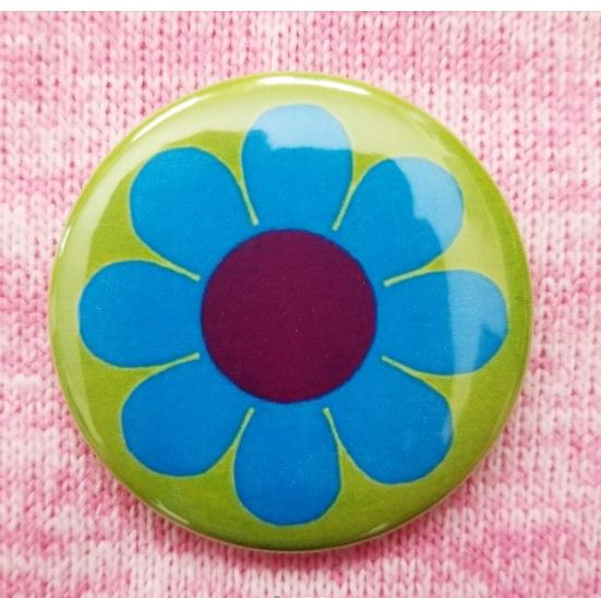 2.25 inch Blue Flower button badge pin
