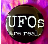 2.25 inch UFOs Are Real button badge pin
