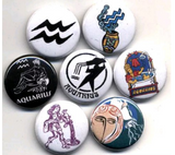 1 inch  set of 7 Aquarius button badges pins