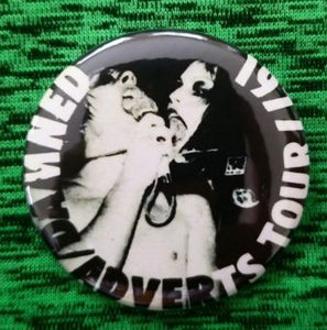 2.25 inch the damned and Gaye advert 1977 tour button badge pin