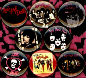 1 inch set of 8 New York Dolls buttons badge pins