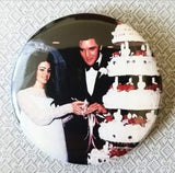 2.25 inch Elvis Presley wedding button badge pin