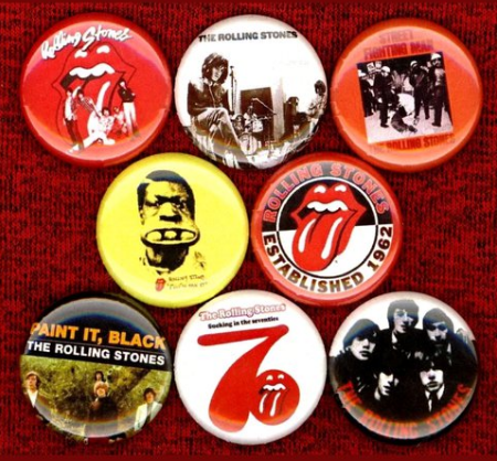 1 inch set of 8 Rolling stones buttons badge pins