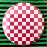 2.25 inch red and white checkerboard button badge pin