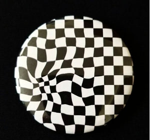 2.25 inch Checkerboard button badge pin