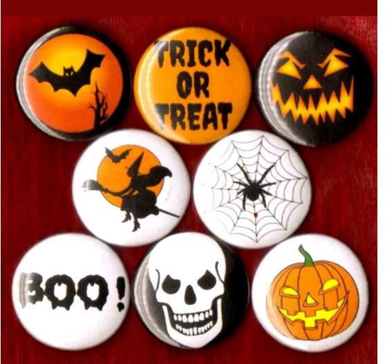 Halloween buttons badge pins set of 8