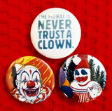 1.25 inch set of 3 Evil Clown pins