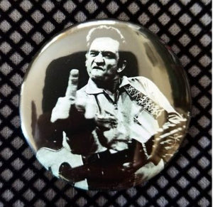 2.25 inch Middle Finger Johnny Cash button badge pin