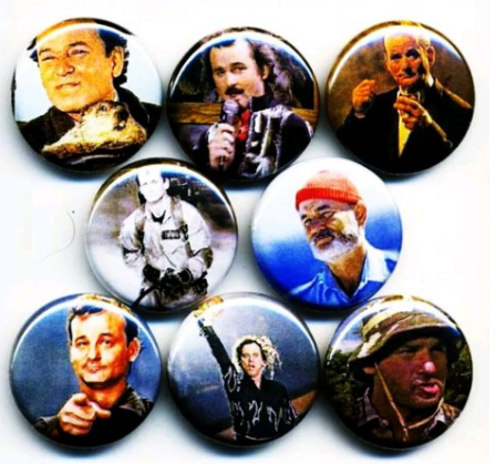1 inch set of 8 Bill Murray buttons badge pins