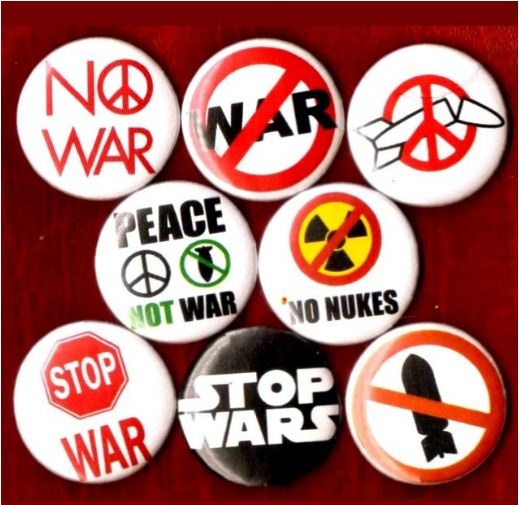 1 inch set of 8  No War buttons badge pins