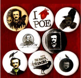 Edgar Allen Poe buttons badge pins set of 8
